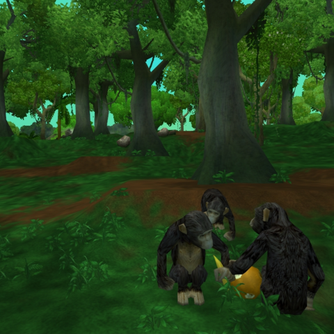 A group of Chimpanzees in an exhibit in Zoo Tycoon 2.