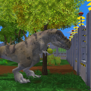 A male <i>T. rex</i> examining a fence.